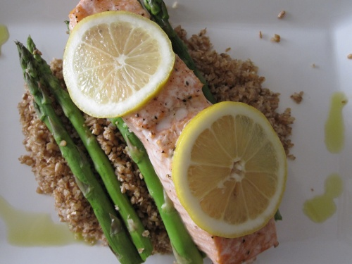 salmon, asparagus, & blugur