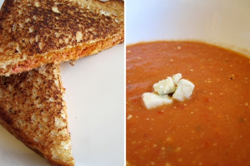 buffalo chicken grilled cheese with blue cheese tomato soup