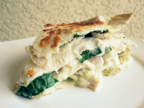 spinach chicken tortilla stack