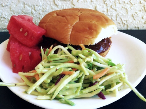 slow cooker pork with broccoli slaw