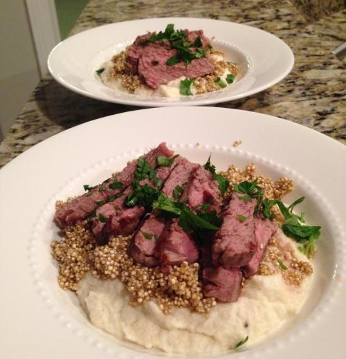 Steak with cauliflower puree and quinoa